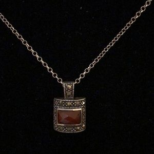 925 Sterling Silver carnelian marcasite necklace